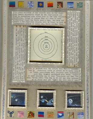 Robert H. Stockton; Copernicus, 2007, Original Mixed Media, 9 x 12 inches. Artwork description: 241  This mixed media piece incorporates a variety of found and traditional artist' s materials, and is enclosed in a black, wood shadow box, under glass as it contains several three dimensional elements.  Materials used include: weathered canvas, old newspapers, text from old astronomy books, typewritten text on ...