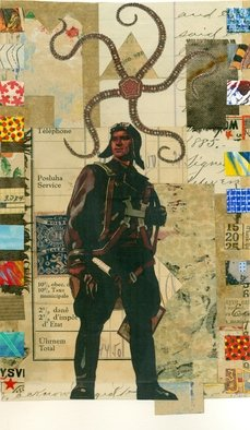 Robert H. Stockton; On The Threshold, 2020, Original Collage, 6 x 9 inches. Artwork description: 241 Collage using vintage papers and found images. ...