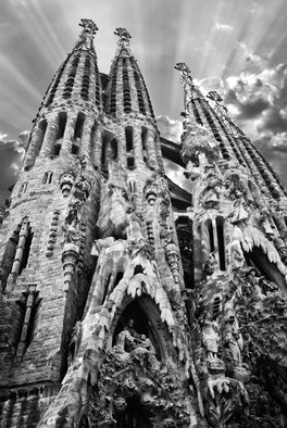 Stef Dorin; Sagrada Familia, 2005, Original Photography Black and White, 20 x 30 inches. Artwork description: 241     Selling limited edition photographs- each print is signed and numbered verso and delivered unframed and unmated. I ship all prints, ( along with a certificate of authenticity) , rolled, in a heavy duty shipping tube fully insured. If you like to see more of my work please visit