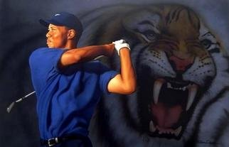 Steve Driscoll; In The Lair, 2005, Original Painting Acrylic, 36 x 24 inches. Artwork description: 241  This is a very realistic sports portrait of Tiger Woods with a ghosted image of a fierce tiger in the background. It is on gallery wrapped canvas. ...