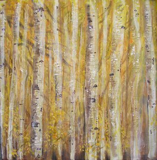 Sean Willett; Birch Trees, 2007, Original Painting Other, 29 x 29 inches. Artwork description: 241  birches fall yellow woods minimal trunks square swirl psychedelic abstract     ...