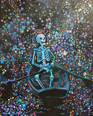 Sean Willett; Stargazer, 2017, Original Painting Acrylic, 18 x 24 inches. Artwork description: 241 Blue skeleton ...