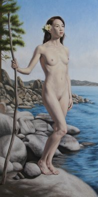 Seidai Tamura; Flower By The Lake, 2011, Original Painting Oil, 12 x 24 inches. Artwork description: 241  figurative, nudes, representational, realism, classical, female, traditional ...
