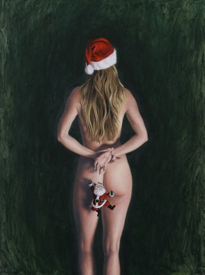 Seidai Tamura; Ho Ho Ho, 2011, Original Painting Oil, 12 x 16 inches. Artwork description: 241        figurative, nudes, representational, realism, classical, female, traditional, Christmas, Holiday, Santa Claus       ...
