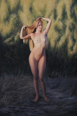 Seidai Tamura; Sunset At Oxbow, 2012, Original Painting Oil, 24 x 36 inches. Artwork description: 241  figurative, nudes, representational, realism, classical, female nudes, traditional, artistic nudes ...