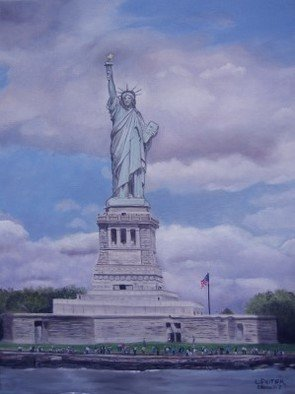 Lynette Seiter; As The Storm Clouds Gather, 2008, Original Painting Oil, 18 x 24 inches. Artwork description: 241  The Statue of Liberty as the sun shines through the clouds ...
