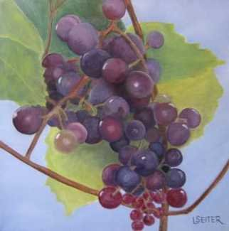 Lynette Seiter; Grapes II, 2008, Original Painting Oil, 12 x 12 inches. Artwork description: 241  Grapes as they hang on the vine in the sun.  ...