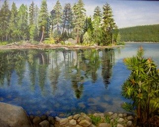 Lynette Seiter; Lake Cove, 2008, Original Painting Oil, 20 x 16 inches. Artwork description: 241  lake, trees, mountains ...