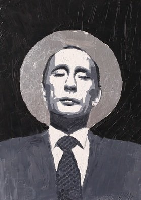 Alexey Semibratsky; Holy Pu, 2017, Original Painting Oil, 50 x 70 cm. Artwork description: 241 Holy Mr. President...