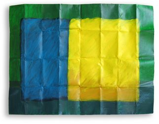 Lavih Serfaty; Blue Yellow Green, 2006, Original Painting Acrylic, 100 x 70 cm. Artwork description: 241  blue and green composition painted on folded aluminum ...