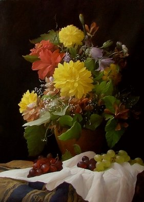 Dmitry Sevryukov; Flowers And Fruits, 2006, Original Painting Oil, 52 x 73 cm. Artwork description: 241 Realism needs rehabilitation and a Flemish- style still life is exactly what is needed for this. I try to work with respect to the masters of previous eras and to the standards of painting of the Middle Ages. I hope that what I do will appeal to ...