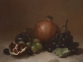 Dmitry Sevryukov; Pomegranate And Grape, 2010, Original Painting Oil, 40 x 30 cm. Artwork description: 241 Realism needs rehabilitation and a Flemish- style still life is exactly what is needed for this. I try to work with respect to the masters of previous eras and to the standards of painting of the Middle Ages. I hope that what I do will appeal to ...