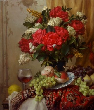 Dmitry Sevryukov; Red Roses, 2018, Original Painting Oil, 60 x 70 cm. Artwork description: 241 Realism needs rehabilitation and a Flemish- style still life is exactly what is needed for this. I try to work with respect to the masters of previous eras and to the standards of painting of the Middle Ages. I hope that what I do will appeal to ...