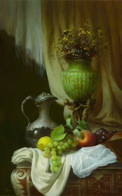 Dmitry Sevryukov; Still Life With A Green Vase, 2012, Original Painting Oil, 50 x 80 cm. Artwork description: 241 Realism needs rehabilitation and a Flemish- style still life is exactly what is needed for this. I try to work with respect to the masters of previous eras and to the standards of painting of the Middle Ages. I hope that what I do will appeal to ...