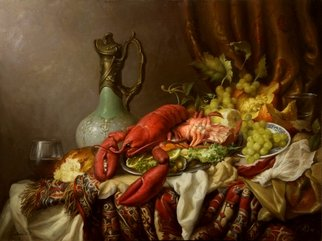 Dmitry Sevryukov; Still Life With Lobster, 2018, Original Painting Oil, 80 x 61 cm. Artwork description: 241 Realism needs rehabilitation and a Flemish- style still life is exactly what is needed for this. I try to work with respect to the masters of previous eras and to the standards of painting of the Middle Ages. I hope that what I do will appeal to ...