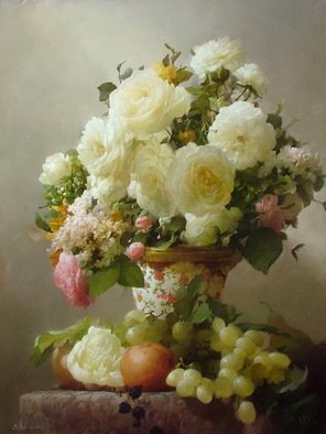 Dmitry Sevryukov; White Roses, 2008, Original Painting Oil, 60 x 80 cm. Artwork description: 241 Realism needs rehabilitation and a Flemish- style still life is exactly what is needed for this. I try to work with respect to the masters of previous eras and to the standards of painting of the Middle Ages. I hope that what I do will appeal to ...