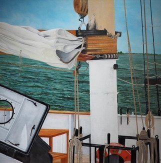 Steven Fleit; Head In To The Wind, 2018, Original Painting Acrylic, 24 x 24 inches. Artwork description: 241 The rigging of the Clipper City tall ship located in the New York Harbor. Tall ship, New York City, seascapes...