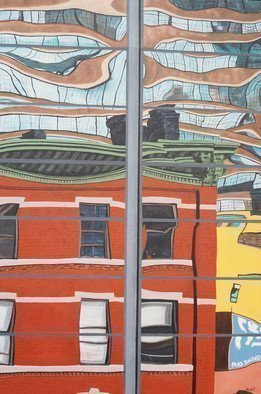 Steven Fleit; High Line Reflection 5, 2014, Original Painting Acrylic, 24 x 36 inches. Artwork description: 241  High Line, reflection, glass, architecture, distortion...