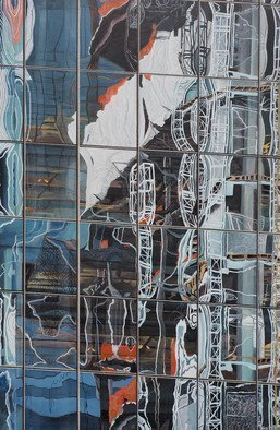 Steven Fleit; Hudson Yards Reflection 2, 2018, Original Painting Acrylic, 24 x 36 inches. Artwork description: 241 Hudson Yards, reflection, architecture, building, construction, New York, NY...