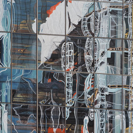 Steven Fleit, , , Original Painting Acrylic, size_width{hudson_yards_reflection_2-1528395345.jpg} X 36 inches