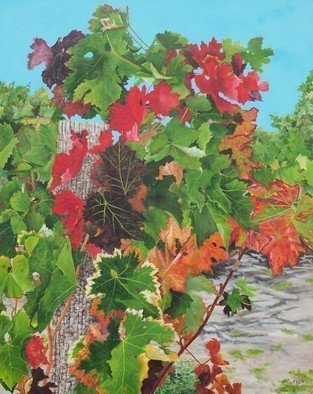 Steven Fleit; Loire Valley Vineyard 1, 2018, Original Painting Acrylic, 24 x 30 inches. Artwork description: 241 An addition to my series of Vineyard paintings, this one from the Loire valley, France. Painting, Loire Valley, vineyards, wine, grape leafs. ...