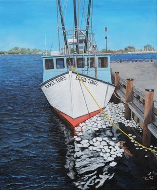 Steven Fleit; Newburyport Fishing Boat, 2019, Original Painting Acrylic, 20 x 24 inches. Artwork description: 241 A fishing boat in Newburyport, MA sitting dockside with ice paddies between the dock and the hull. fishing, boats, sea, MA...