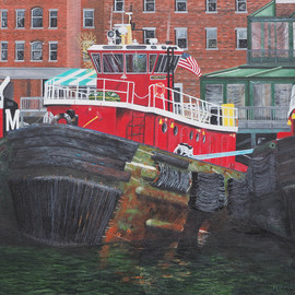 Steven Fleit, , , Original Painting Acrylic, size_width{portsmouth_tugboat-1530892865.jpg} X 20 inches