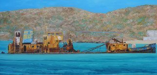 Steven Fleit; St Martin Shipwreck El Maud, 2015, Original Painting Acrylic, 48 x 24 inches. Artwork description: 241 Shipwreck  1999  of the El Maud off the coast of Marigot, St. Martin. Removed 2017. shipwreck, st. martin, caribbean...