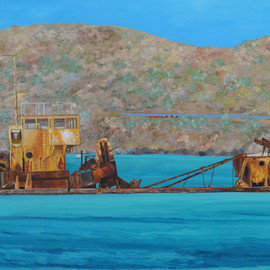 Steven Fleit, , , Original Painting Acrylic, size_width{st_martin_shipwreck_el_maud-1551197099.jpg} X 24 inches