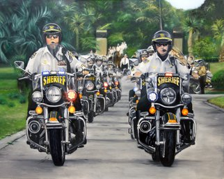Stephen Fusco; Motors Unit, 2009, Original Painting Oil, 48 x 36 inches. Artwork description: 241  This is an oil painting of Sheriff's motorcycles doing a funeral escort.  ...