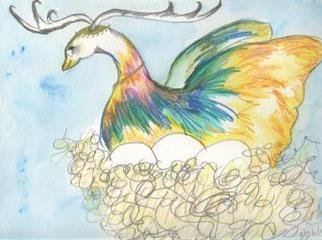 Suzanne Gegna; MYTH AND EGGS, 2001, Original other, 9 x 12 inches. Artwork description: 241 SHE IS A MYTHOLOGICAL CREATURE AND FLOATS THROUGH THE SKY WITH HER NEST AND EGGS. . . . . SHE IS CONTENT AND ENJOYING THE RIDE. ...