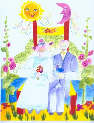Suzanne Gegna; Wedding Picture In Chair, 2002, Original Painting Acrylic, 15 x 15 inches. Artwork description: 241 A loving wedding portrait, the couple sits in a chair among flowers, signifying growth and cycles. The Moon and Sun also represent natural cycles. ...
