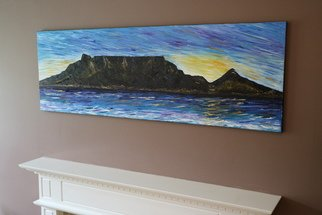 Sharon Dippenaar; Table Mountain Cape Town, 2018, Original Painting Oil, 120 x 40 cm. Artwork description: 241 Original Oil On Canvas piece by Sharon4ArtsArtwork, Size:  120cm x 40cm Title: Cape Town Table MountainThis is an original Cape Town palette knife painting by Sharon using Oils of Cape Town Table mountain.  Table Mountain also known as Tafelberg and a flat- topped mountain forming ...