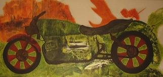 Wayne Lepage; Landscape Motorcycle, 2011, Original Mixed Media, 36.5 x 17 inches. Artwork description: 241      Collaged acrylic painted canvas     ...