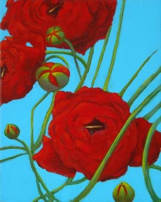 Shanee Uberman; Poppy Red 2, 2009, Original Painting Oil, 8 x 10 inches. Artwork description: 241   a color saturated canvas, i hope you see all the beauty in our world, i know we have darkness, it can overwhelm at times. . . please, see the magnificent bright colorful world we live in  ...
