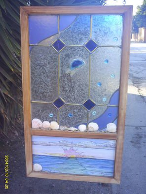 Shane Irvine; Window To The Sea001, 2011, Original Glass Stained, 20 x 36 inches. Artwork description: 241   Multi media autonomous hanging window panel incorporating water color and stained glass with cut stones and crustacean relics  ...