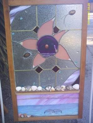 Shane Irvine; Window To The Sea002, 2011, Original Glass Stained, 28 x 36 inches. Artwork description: 241    Multi media autonomous hanging window panel incorporating water color and stained glass with cut stones and crustacean relics   ...