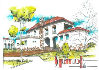 Soran Shangapour; Spanish Villa, 2016, Original Drawing Marker, 84 x 59 cm. Artwork description: 241  architecture drawing sketching villa building Spanish sketch graphic pen marker creative idea concept design art building residence home house garden traditional stone   ...