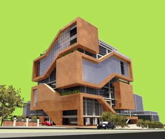 Soran Shangapour; Administrative Building, 2016, Original Drawing Marker, 84 x 59 cm. Artwork description: 241   architecture drawing rendering building fractal graphic creative idea concept design art building administrative office geometry brown modern stone cubic exterior mall shop tower    ...