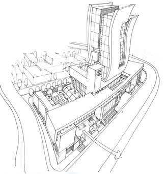Soran Shangapour; Sketching From The Shoppi..., 2016, Original Drawing Marker, 84 x 59 cm. Artwork description: 241  architecture drawing rendering building fractal graphic creative idea concept design art building administrative office geometry brown modern stone cubic exterior mall shop tower ...