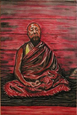 Richard Lazzara, 'Dalai Lama Meditating', 2001, original Painting Acrylic, 19 x 28  x 2 inches. Artwork description: 1911  The Dalai Lama meditates in a red stained room, his eyes gaze off the the end of of his nose, the song is' om mani padme hum' . This portrait is one among many sages featured with