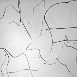 Richard Lazzara, , , Original Drawing Charcoal, size_width{day_after_seeing_dekooning-1108749923.jpg} X 24 inches