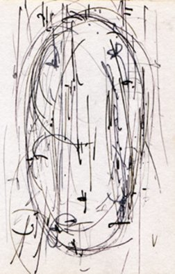 Richard Lazzara; formless lingam drawing, 2012, Original Calligraphy, 4 x 6 inches.