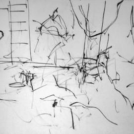 Richard Lazzara, , , Original Drawing Charcoal, size_width{ladder_into_studio-1108751794.jpg} X 24 inches