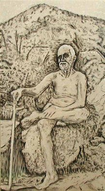 Richard Lazzara, 'Ramana', 2002, original Painting Acrylic, 17 x 32  inches. Artwork description: 1911 Ramana Maharshi with Arunachala mountain behind, the appearance of Self in black and white. This is a memory painting from S. S. Shankar' s first visit to this sacred place in August 1973 available from