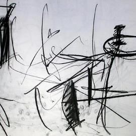 Richard Lazzara, , , Original Drawing Charcoal, size_width{stool_in_the_corner_is_for_you-1108754063.jpg} X 24 inches