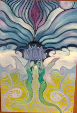 Sheana Benoit; The Lotus Twins, 2006, Original Painting Oil, 2 x 3 feet. Artwork description: 241  There are two sides to us all. . . and in meditation i try to bring them together. . . to make myself feel whole again. . . the lotus is blooming and the twinsare joining.      ...