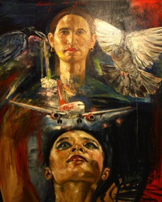 Sheila Fraga; ATERRIZA, 2009, Original Painting Oil, 41 x 45 inches. Artwork description: 241  selfportrait with bird ...