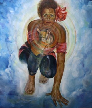 Sheila Fraga; Charity, 2009, Original Painting Oil, 45 x 41 inches. Artwork description: 241  selfportrait ...