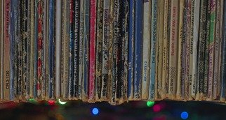 Shelley Catlin; Vinyl with lights, 2014, Original Photography Digital, 20 x 16 inches. Artwork description: 241    Vinyl LPs, bokeh background, on metallic paper face mounted on plexiglass   ...